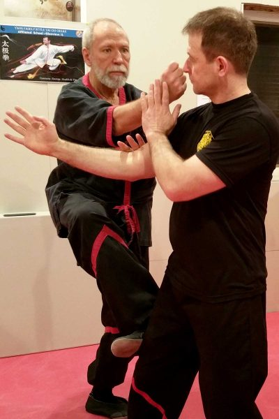 Photo: Master Mike Adams and Sifu Guerman Atanassov training WingTsun at Sifu Atanassov's home kwoon (school).